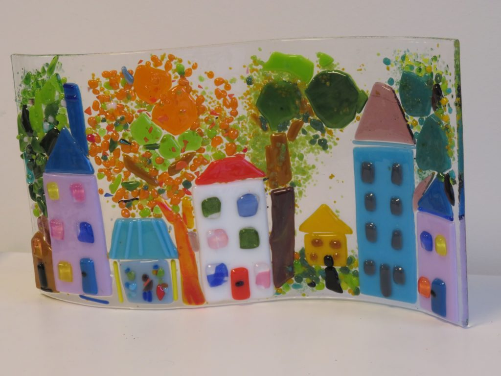 An early experiment with fusing glass. I so like the colours, light which are uplifting and positive.